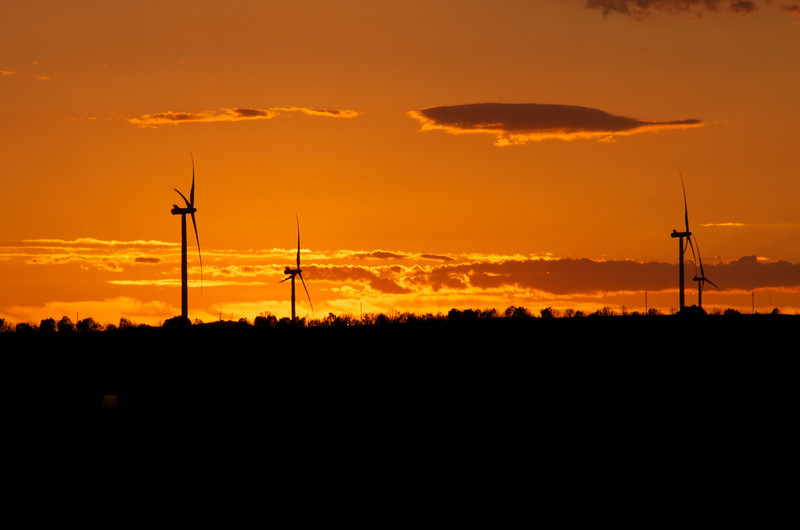 Sunrise and windmills.