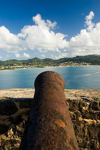 Cannon at Fort Rodney on Pigeon Island looking over Rodney Bay