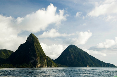 The Pitons from a boat...the light is crap but this is the only photo I got!