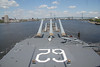 USS New Jersey, above the main guns, looking towards the bow.