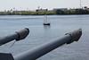 "USS New Jersey, 5"" gun mount and passing junk."