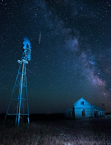 Derelect Farm near Kent Under the Milky Way and Shooting Stars