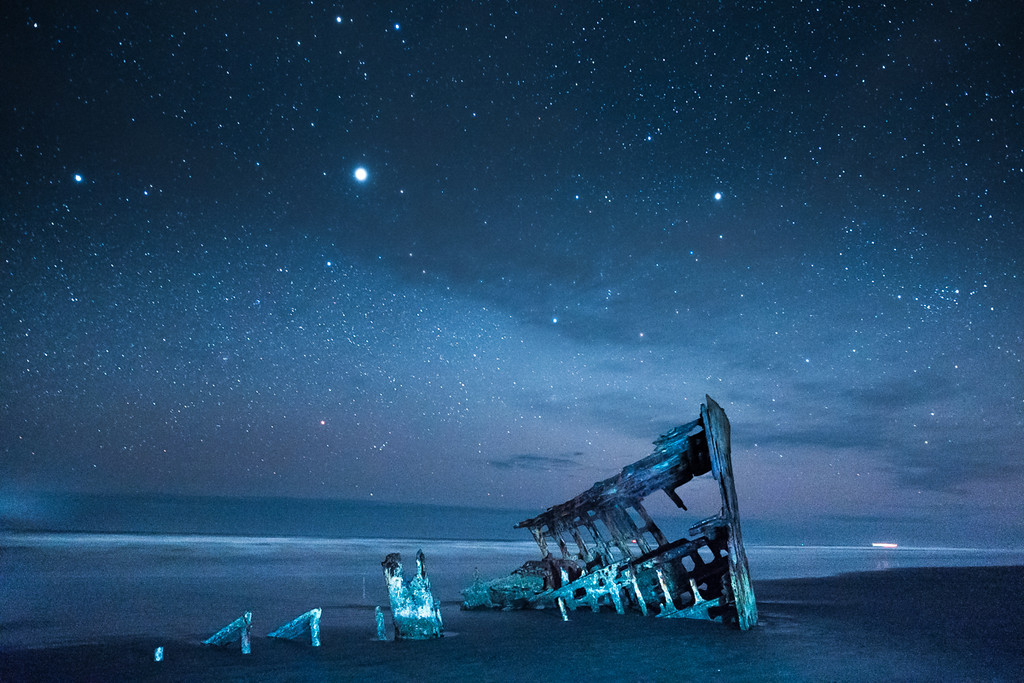 Wreck of the Peter Iredale Under Starlight, near Astoria, OR