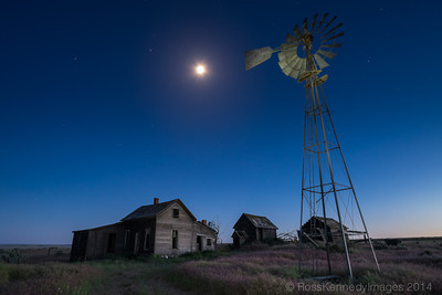 Derelict Farm near Kent Under Moonlight