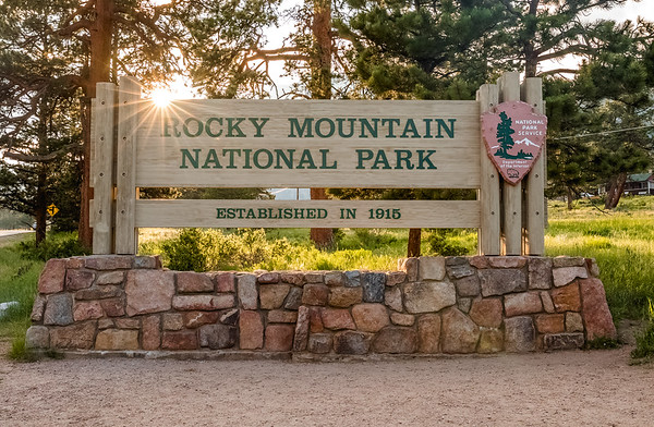 Rocky Mountain National Park's east entrance sign.