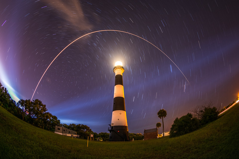 Delta IV Heavy launching Parker Solar Probe to the Sun, as seen in this single long exposure image from the Cape Canaveral Lighthouse.
