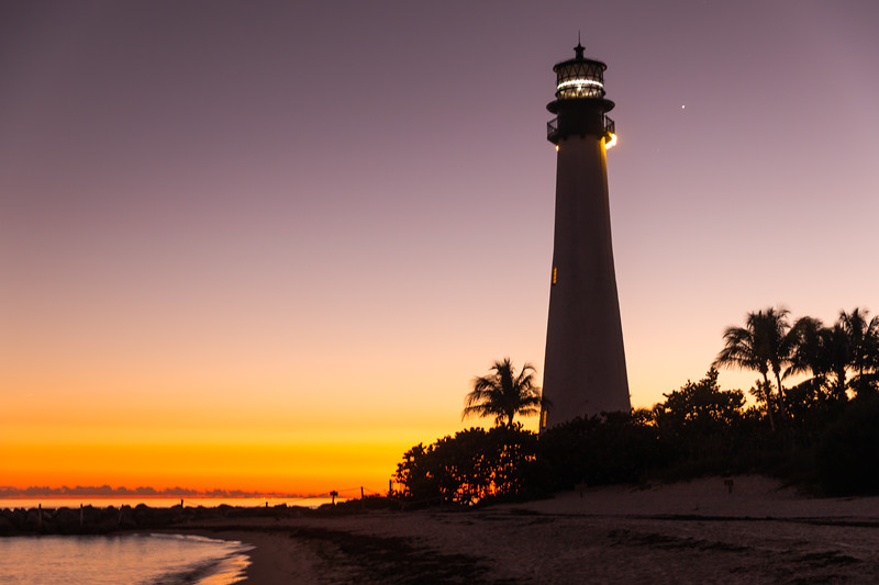 Cape Florida Lighthouse at sunset