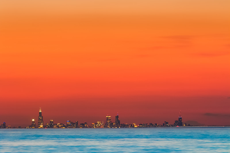 25 second exposure of the Chicago skyline from Indiana Dunes/Porter Beach 55 minutes after sunset.