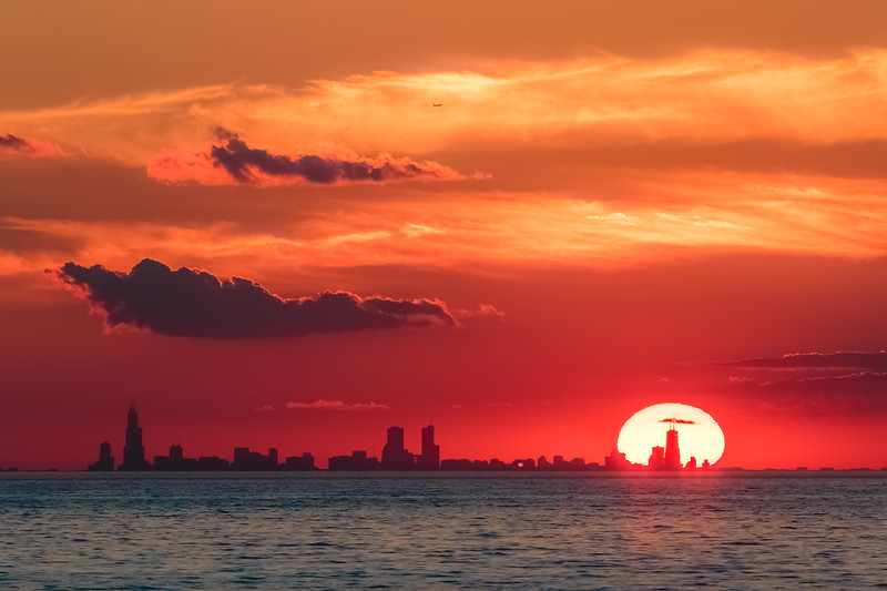 Chicago skyline from Indiana Dunes/Porter Beach at sunset.