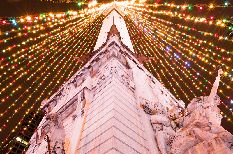 Looking up from underneath the Circle of Lights tree downtown Indianapolis
