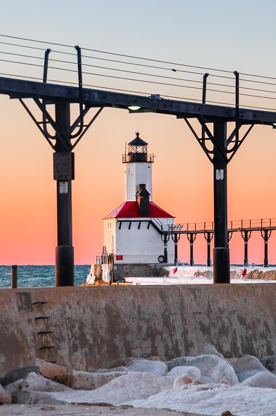 Michigan City East Pierhead Lighthouse at Sunset - February 3rd, 2017 - Vertical