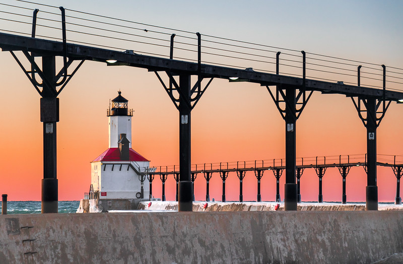 Michigan City East Pierhead Lighthouse at Sunset - February 3rd, 2017 - Horizontal