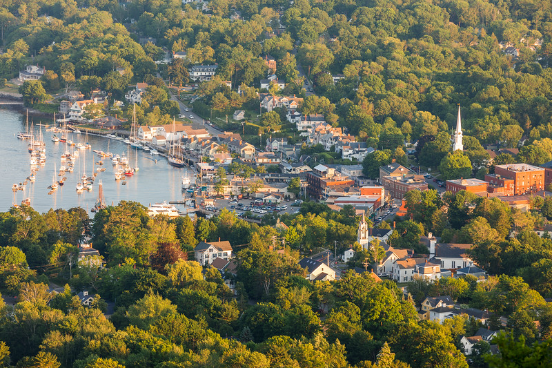 Downtown Camden, Maine from the summit of Mount Battie in Camden Hills State Park.