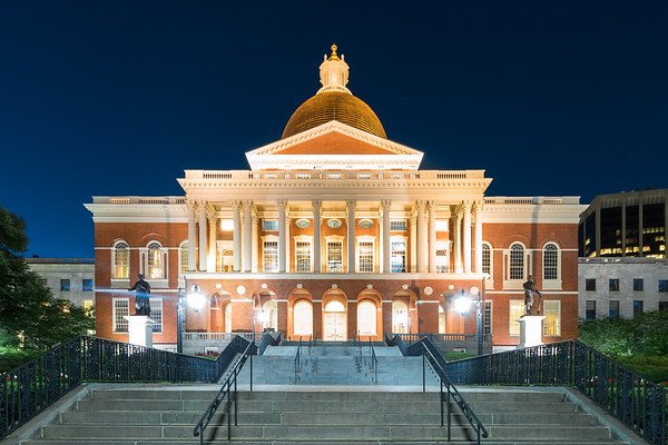 Dusk at the Massachusetts Statehouse.