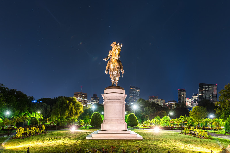 George Washington looks over the Public Garden on a clear night in Boston,