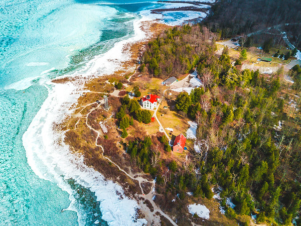 Icy Grand Traverse Lighthouse