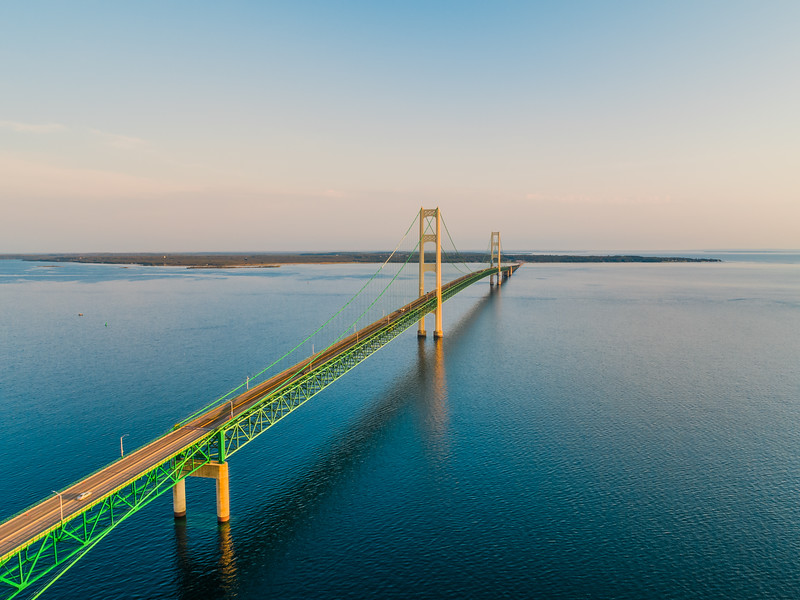 The Mighty Mackinac Bridge at sunrise.