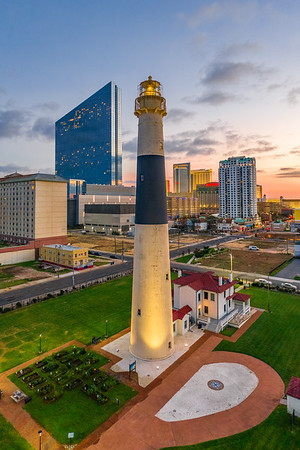 Absecon Lighthouse at sunset in Atlantic City, New Jersey