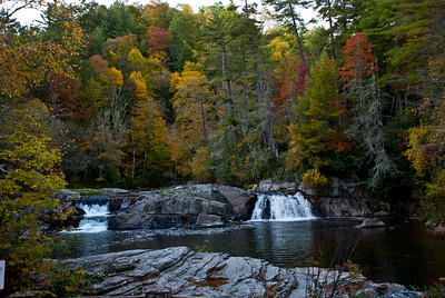 Double falls in Linville, NC