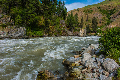 Rapids on the Payette River, Idaho.  Spring snow melt has raged this river.