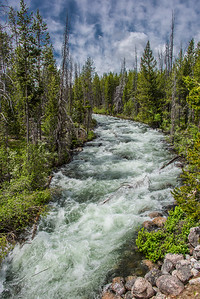 Outflow from Redfish lake races to the Salmon River.  Idaho.