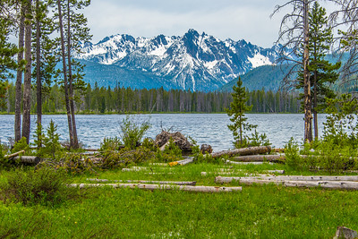 Redfish lake with Sawtooth mountains in background. Idaho.