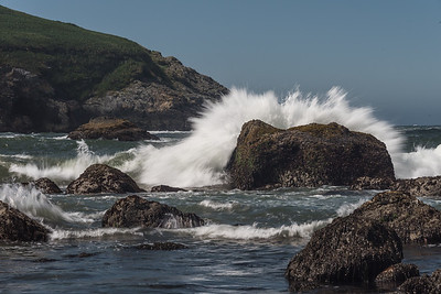 Crashing wave.  Pacific coast along lower Oregon