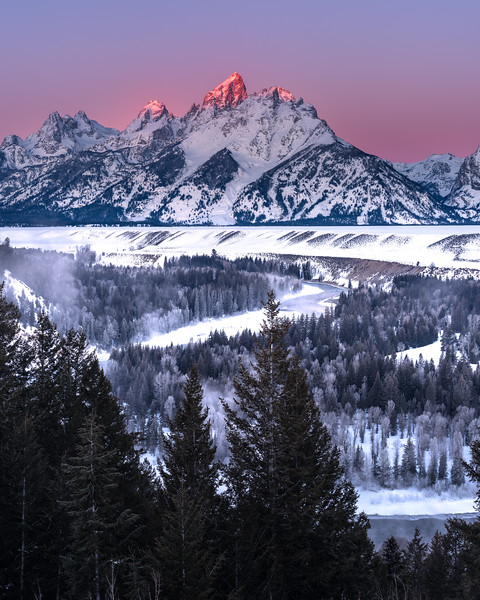 First Light on the Frozen Tetons
