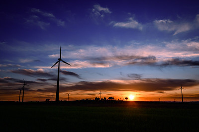 Sunset in the wind farm