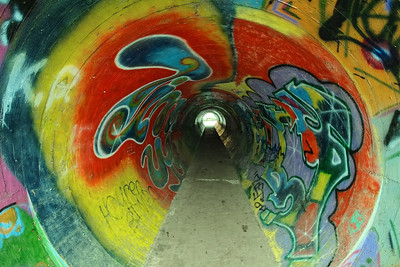 Tunnel covered with graffiti