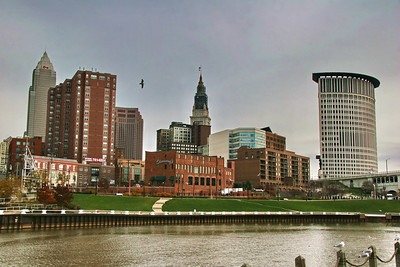 The Flats, from the west side of the Cuyahoga river; Cleveland, Ohio
