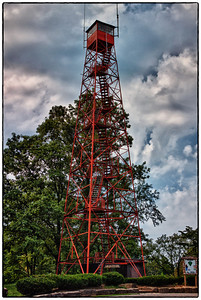 The fire tower in Mohican State Park over the Clearfork-Mohican River near Loudonville, Ohio in Ashland County.