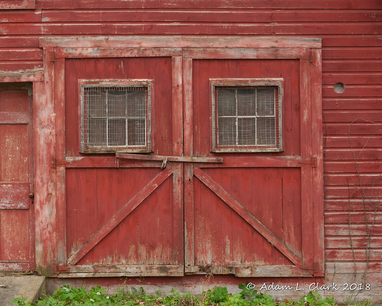 One of the larger doors on the front of the mill