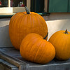 A pumpkin display outside the toy store.
