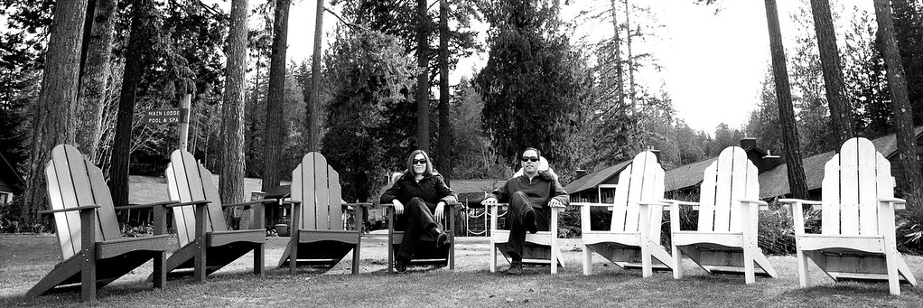 Adirondack at Alderbrook -<br /> <br /> This is now one of my classic photos, Adirondack chairs by the water ... this time around is me and wife at the alderbrook resort looking at the hood canal ...<br /> <br /> Format 1:3 is also a favorite of mine.