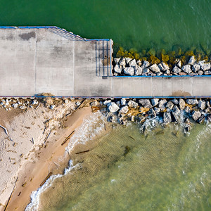 Pier in Onekama Aerial Square