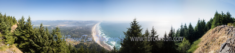 Panoramic of Oregon coast from Neahkahnie Mountain
