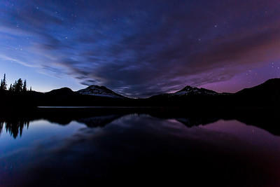 Before Dark - Aurora at Sparks Lake  When I first got there the clouds where covering quite a bit, but moved along pretty nicely. It wasn't completely dark yet, but the camera still picked up a little bit of the Aurora.  Canon 5D MK III Canon 17-40mm f/4 L ISO 2000 f/4.0 25 Seconds