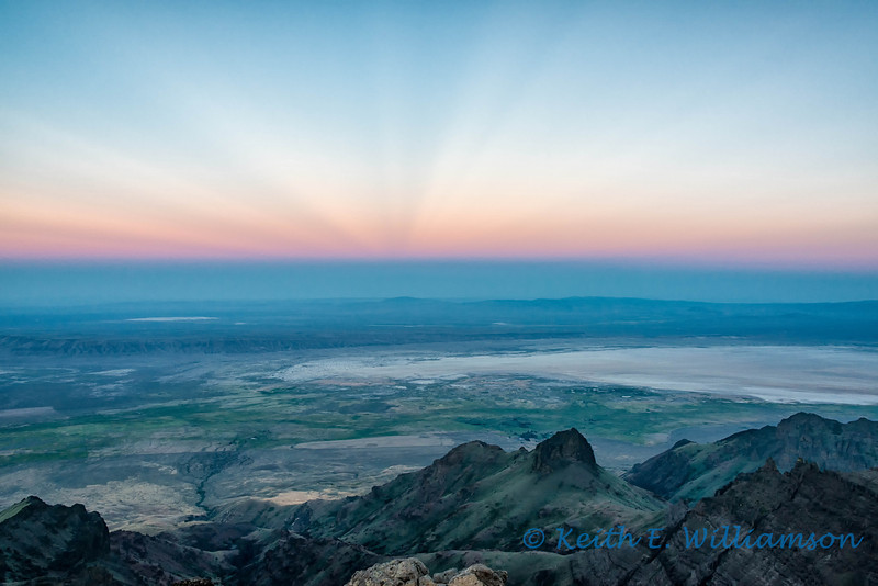 Anticrepuscular rays (and earth shadow) over the Alvord Desert, from Steens Mountain