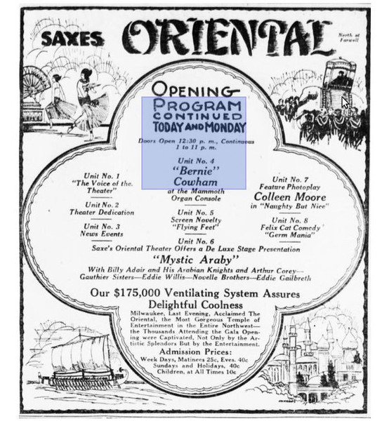 Original opening night flyer showing the eight segments of the evening