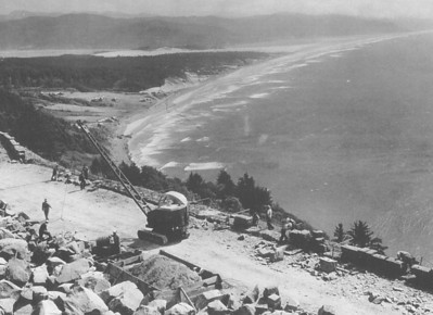 Highway 101 rockwork in progress, 1940.