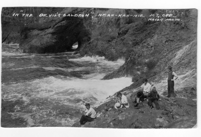 In the 1930s, Manzanita boosters considered building stairs into  Devil's Caldron for better access to fishing. Hiking as close as this photo seems close enough.