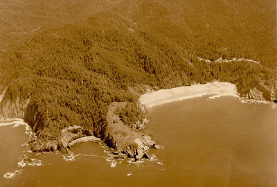 Cape Falcon and Short Sand Beach seen by Brubacker aerial photography in 1931.