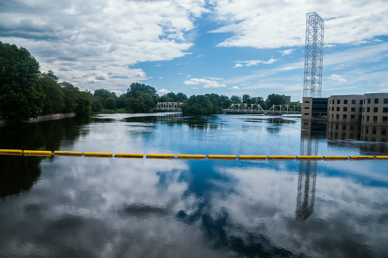 End of boatway boom before falls, Rideau River.