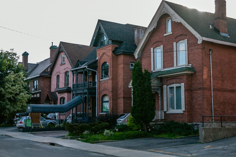 Brick and stone houses.