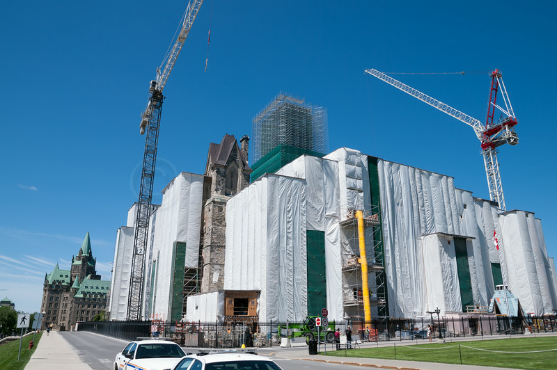 Canada Goverment Build under wraps for repairs and remodeling.