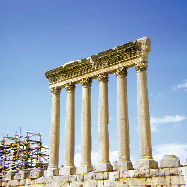 Famous standing columns of the Jupiter temple at Baalbek.