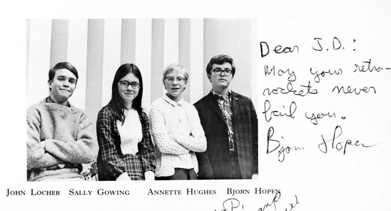 ACS yearbook page scan.  Bjorn, one of my friends, is the boy in the dark jacket by the text.  He foolishly killed himself the year after I left ACS.  I am sure that showed your parents Bjorn! This still pisses me off.