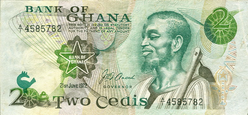 Scan of a 1972 Ghanaian banknote. During my stay in Ghana inflation got out of control.  In a two year period the Cedi was rendered almost worthless.  I watched as all the goods on the markets vanished.   Noboby was stupid enough to sell anything at the official controlled price.