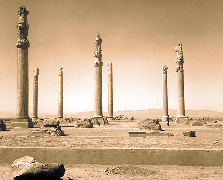 The columns of Persepolis from an old Brownie camera shot.